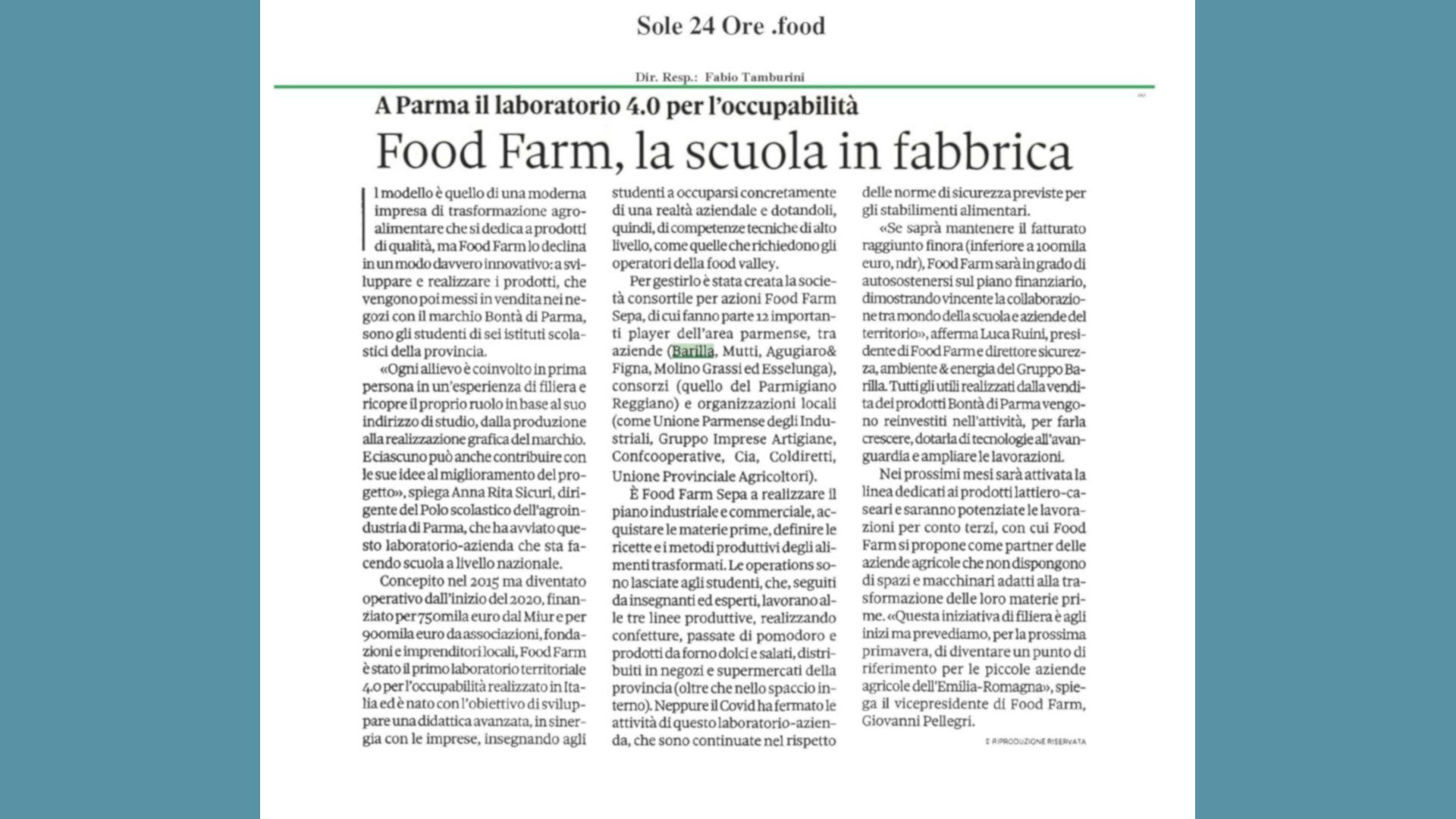 Food Farm la Scuola in Fabbrica